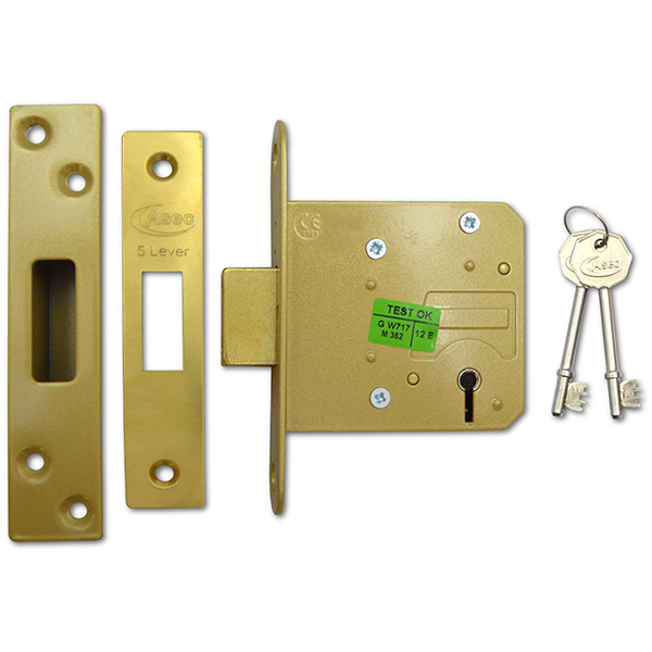 ASEC BS 5 Lever Deadlock in brass